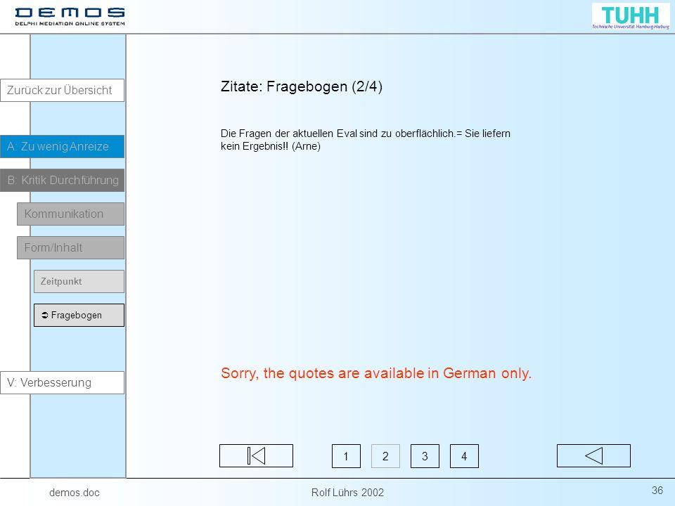 Zitate: Fragebogen (2/4)