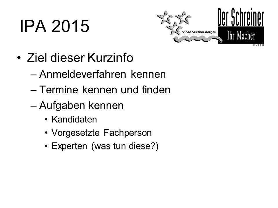 IPA 2015 Ziel dieser Kurzinfo Anmeldeverfahren kennen