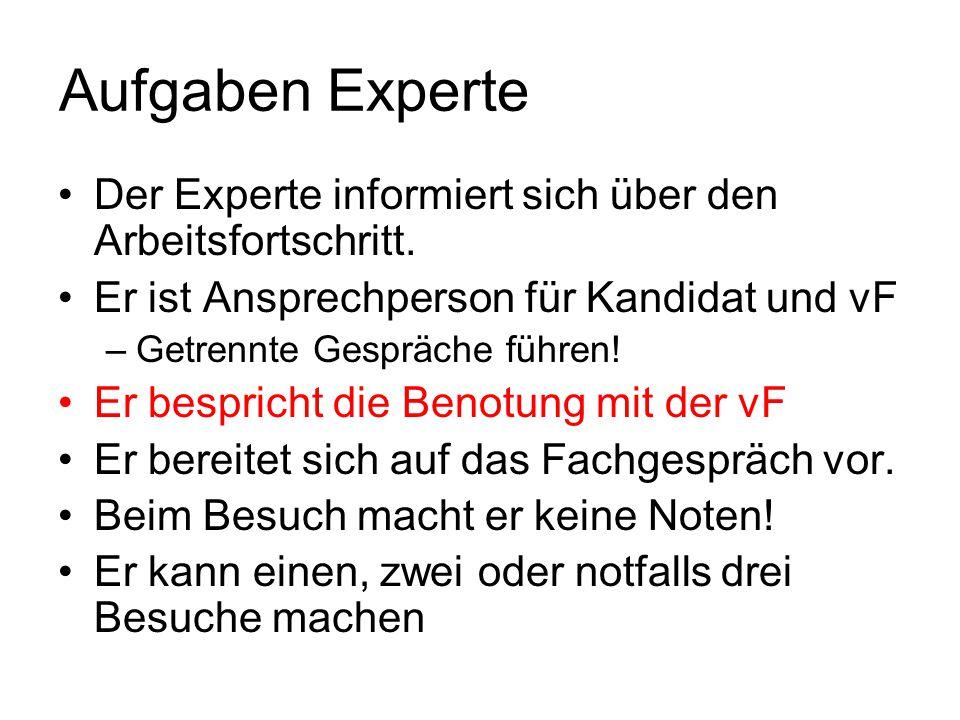 Aufgaben Experte Der Experte informiert sich über den Arbeitsfortschritt. Er ist Ansprechperson für Kandidat und vF.