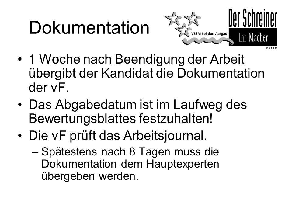 Dokumentation 1 Woche nach Beendigung der Arbeit übergibt der Kandidat die Dokumentation der vF.