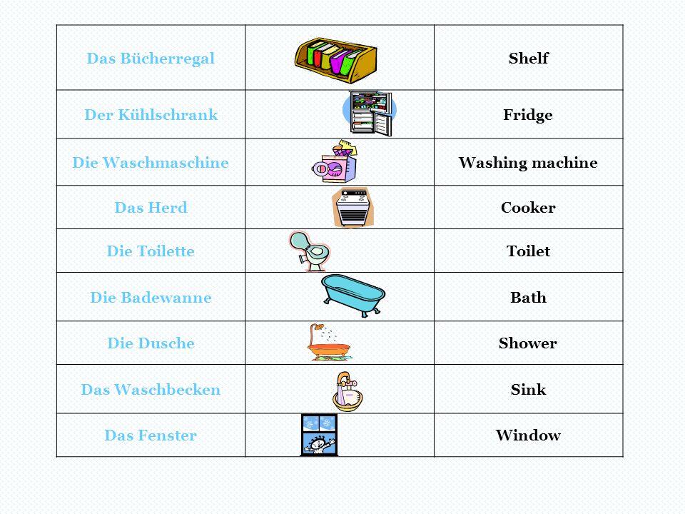 Das Bücherregal Shelf. Der Kühlschrank. Fridge. Die Waschmaschine. Washing machine. Das Herd. Cooker.