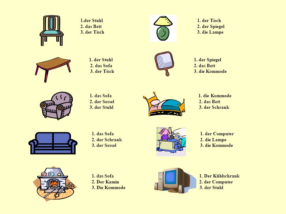 1.der Stuhl 1. der Tisch