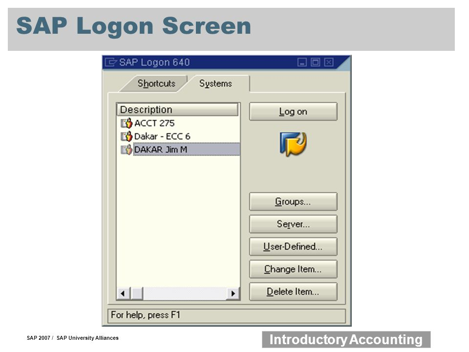 SAP Logon Screen