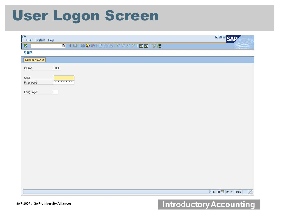 User Logon Screen
