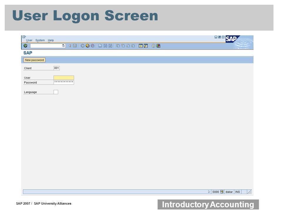 User Logon Screen
