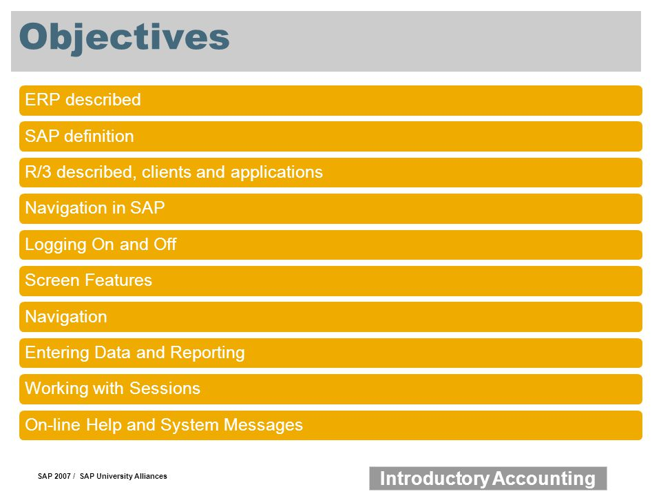 Objectives ERP described SAP definition