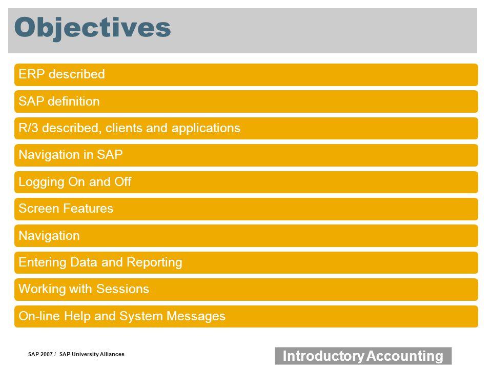 Objectives ERP described SAP definition