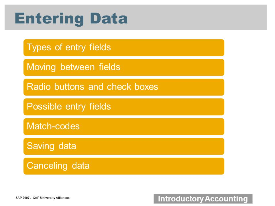 Entering Data Types of entry fields Moving between fields
