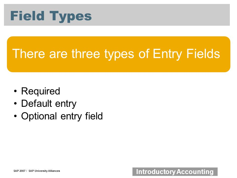 Field Types There are three types of Entry Fields Required