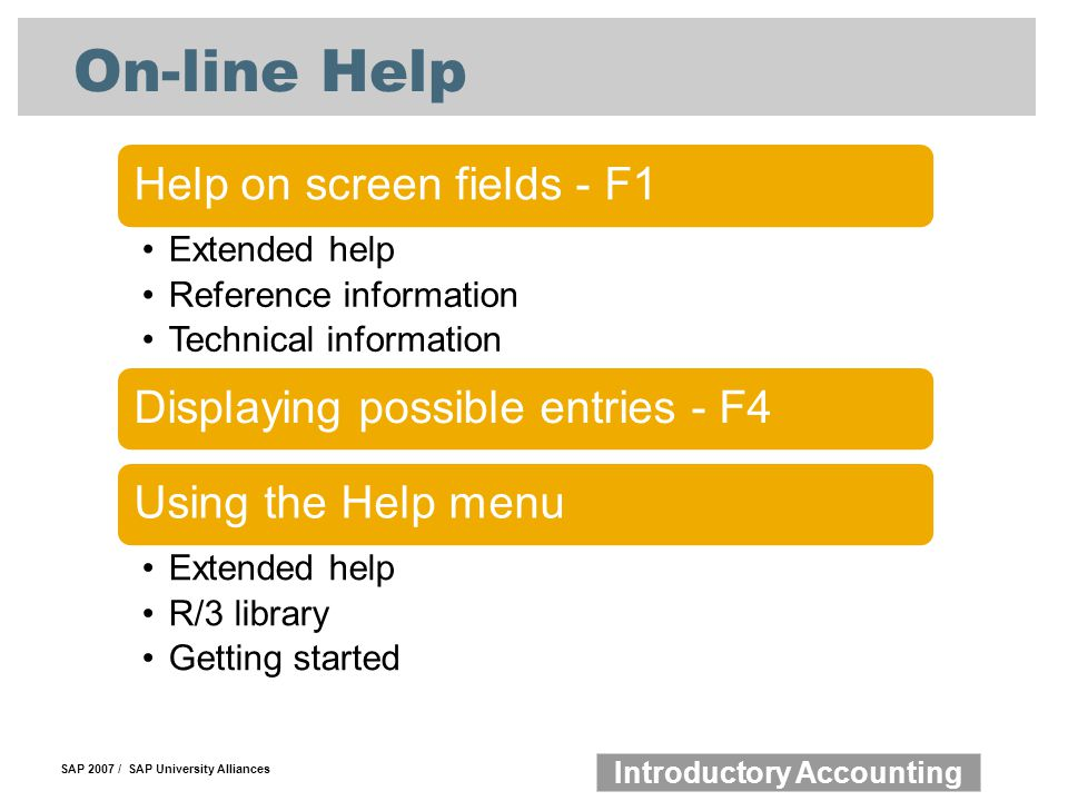 On-line Help Help on screen fields - F1 Extended help