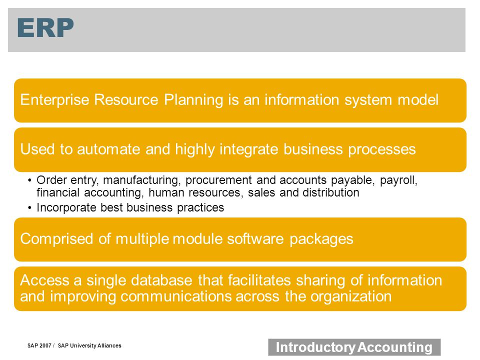 ERP Enterprise Resource Planning is an information system model