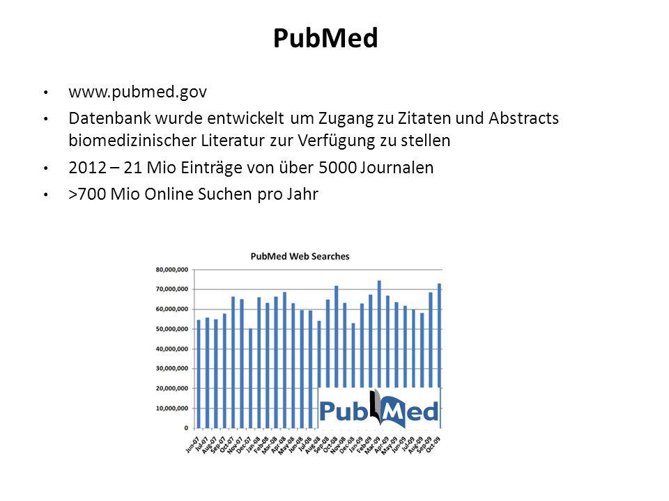 PubMed www.pubmed.gov. Datenbank wurde entwickelt um Zugang zu Zitaten und Abstracts biomedizinischer Literatur zur Verfügung zu stellen.