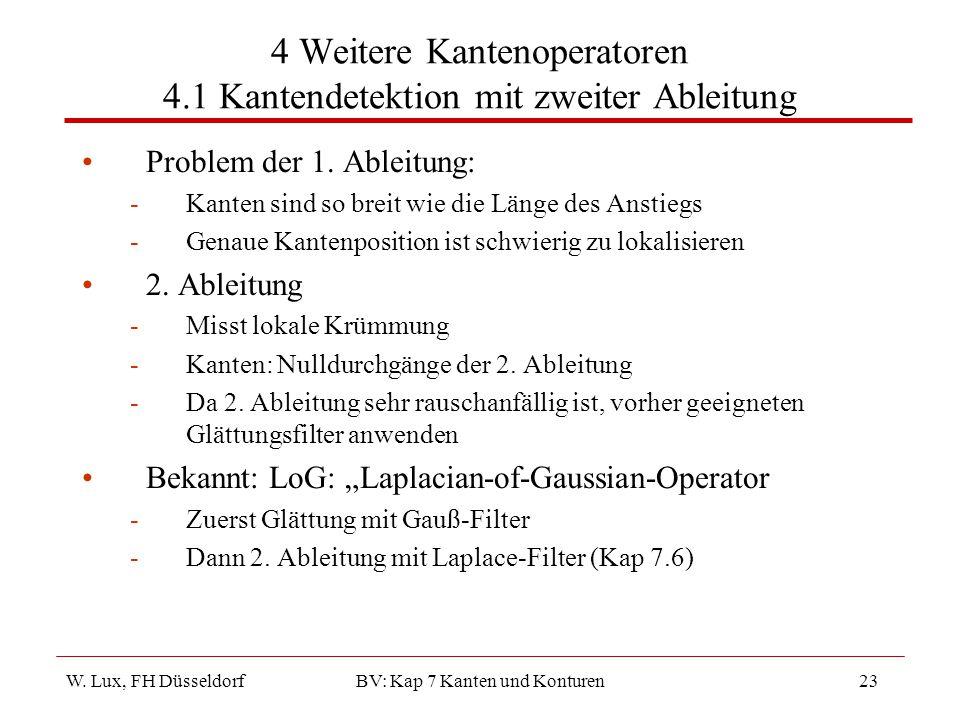 4 Weitere Kantenoperatoren 4.1 Kantendetektion mit zweiter Ableitung