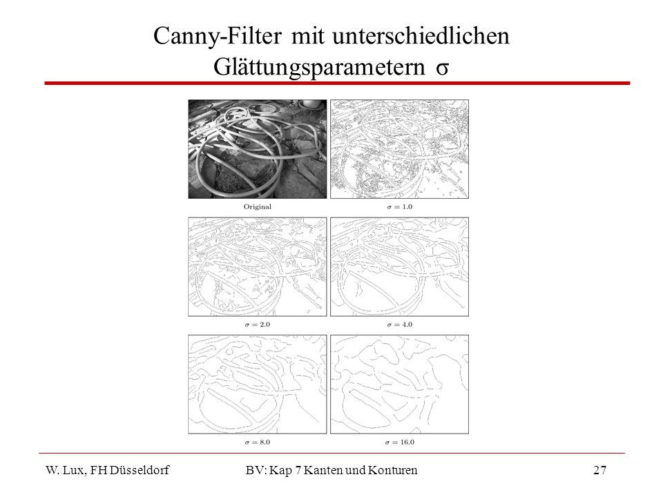 Canny-Filter mit unterschiedlichen Glättungsparametern σ