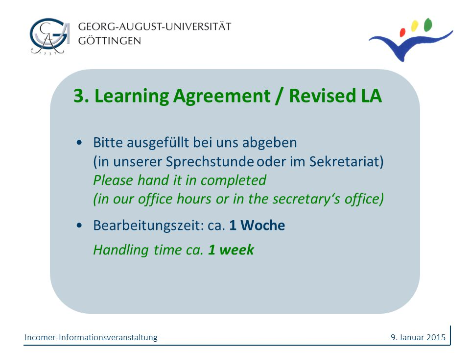 3. Learning Agreement / Revised LA