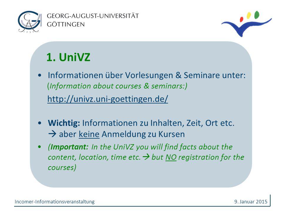 1. UniVZ Informationen über Vorlesungen & Seminare unter: