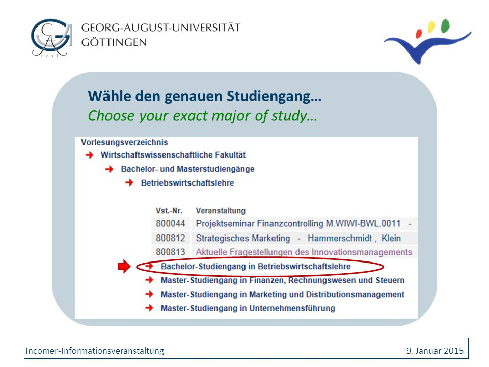 Wähle den genauen Studiengang… Choose your exact major of study…