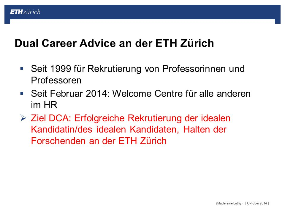 Dual Career Advice an der ETH Zürich