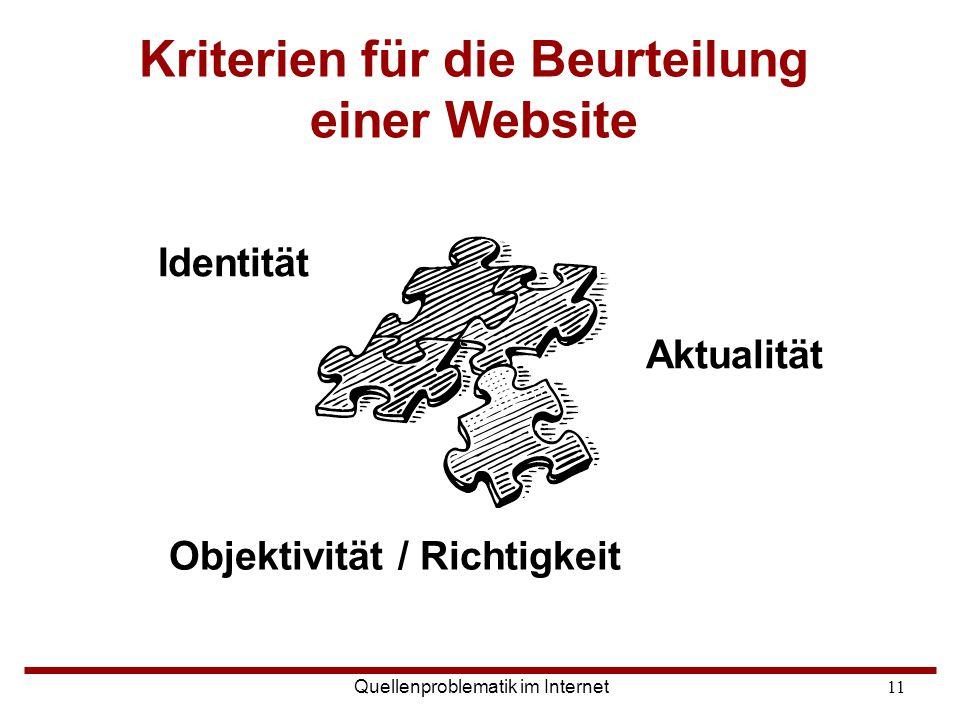 Kriterien für die Beurteilung einer Website