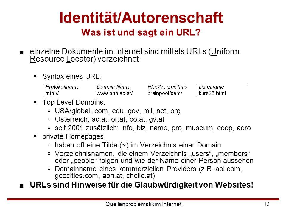 Identität/Autorenschaft Was ist und sagt ein URL