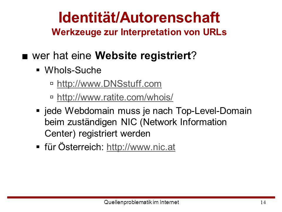 Identität/Autorenschaft Werkzeuge zur Interpretation von URLs