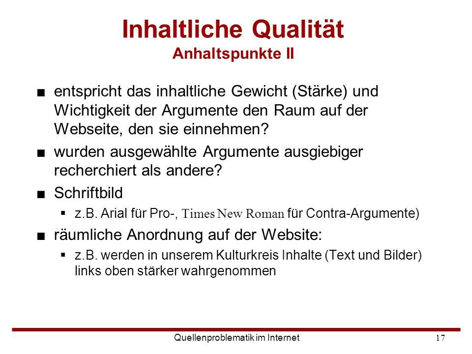 Inhaltliche Qualität Anhaltspunkte II
