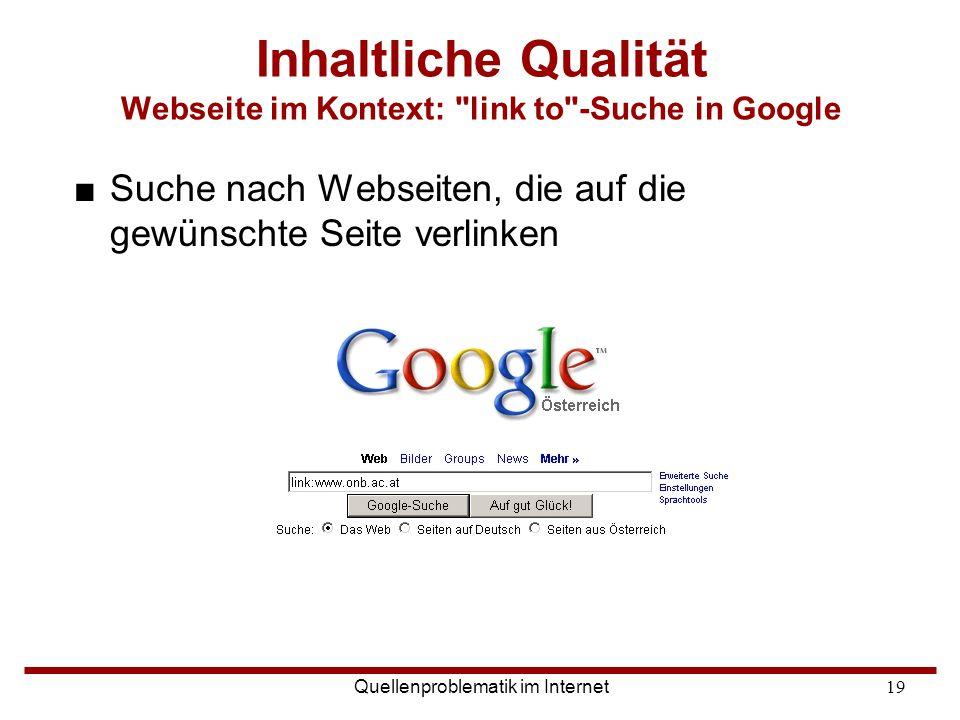 Inhaltliche Qualität Webseite im Kontext: link to -Suche in Google