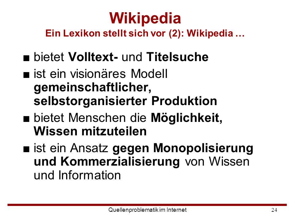 Wikipedia Ein Lexikon stellt sich vor (2): Wikipedia …