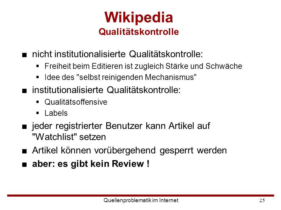 Wikipedia Qualitätskontrolle