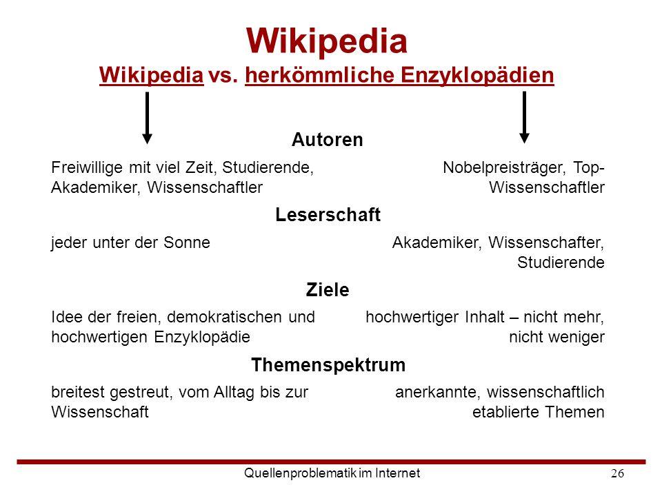 Wikipedia Wikipedia vs. herkömmliche Enzyklopädien