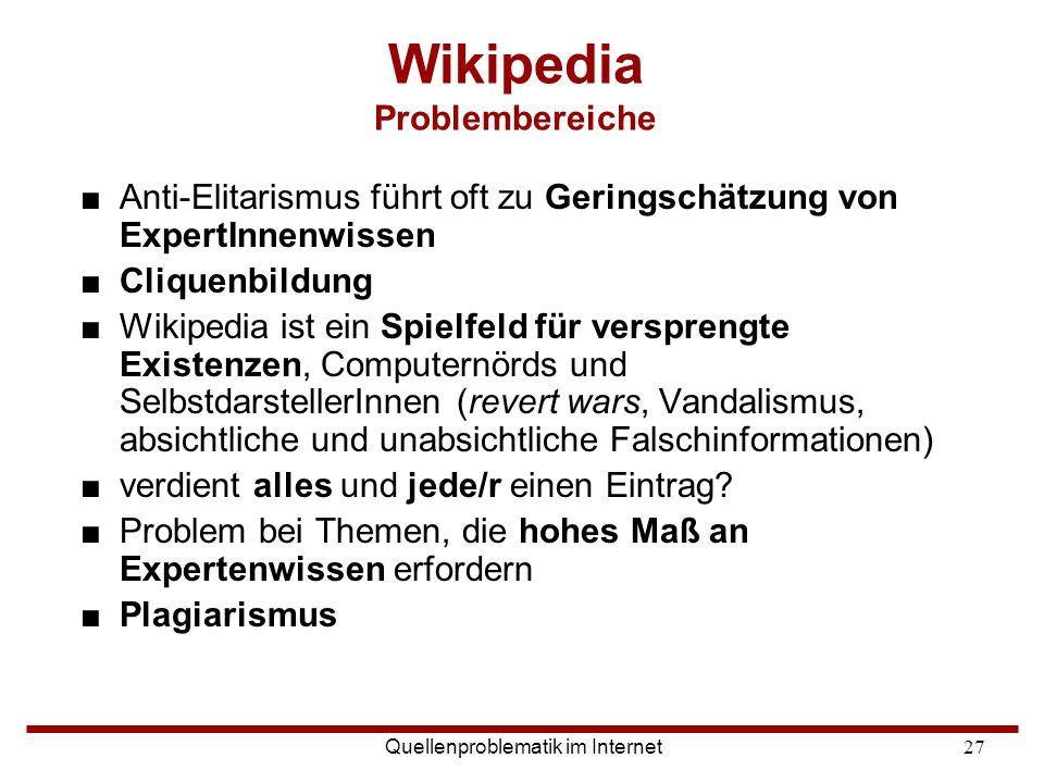 Wikipedia Problembereiche