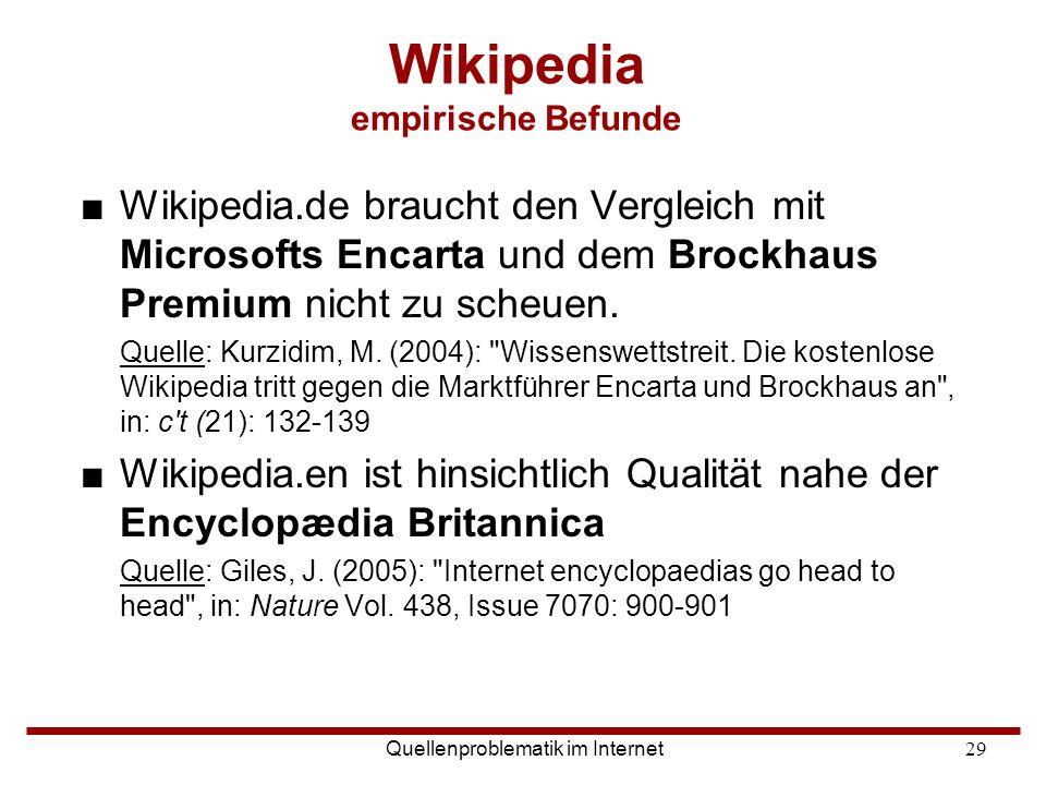 Wikipedia empirische Befunde