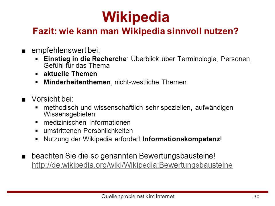Wikipedia Fazit: wie kann man Wikipedia sinnvoll nutzen