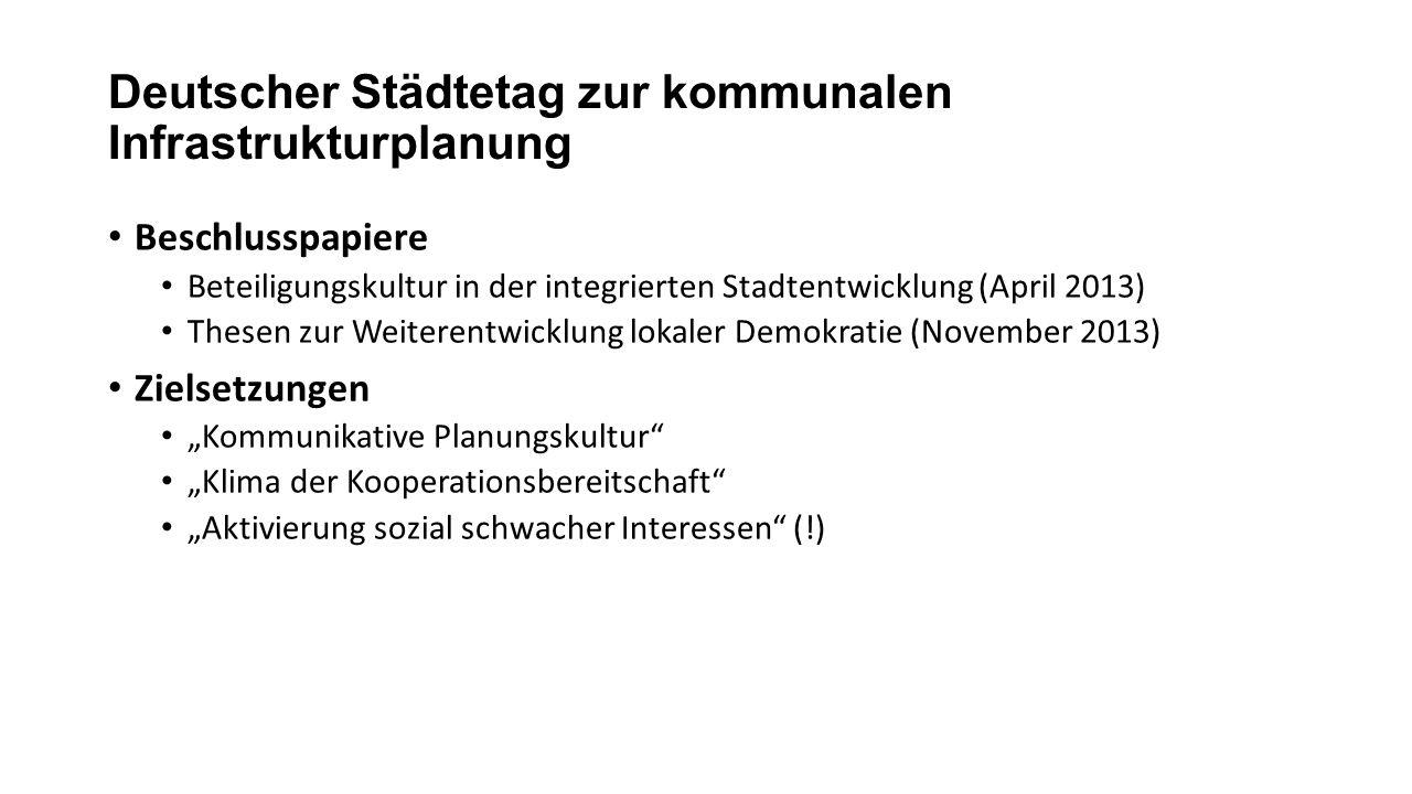 Deutscher Städtetag zur kommunalen Infrastrukturplanung