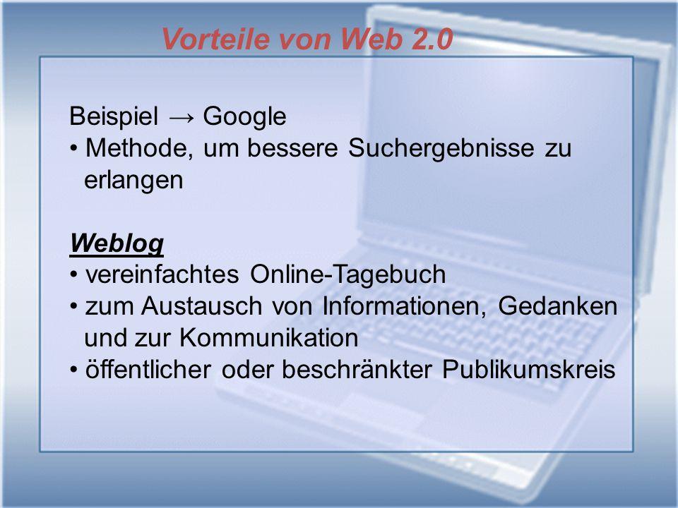 Vorteile von Web 2.0 Beispiel → Google