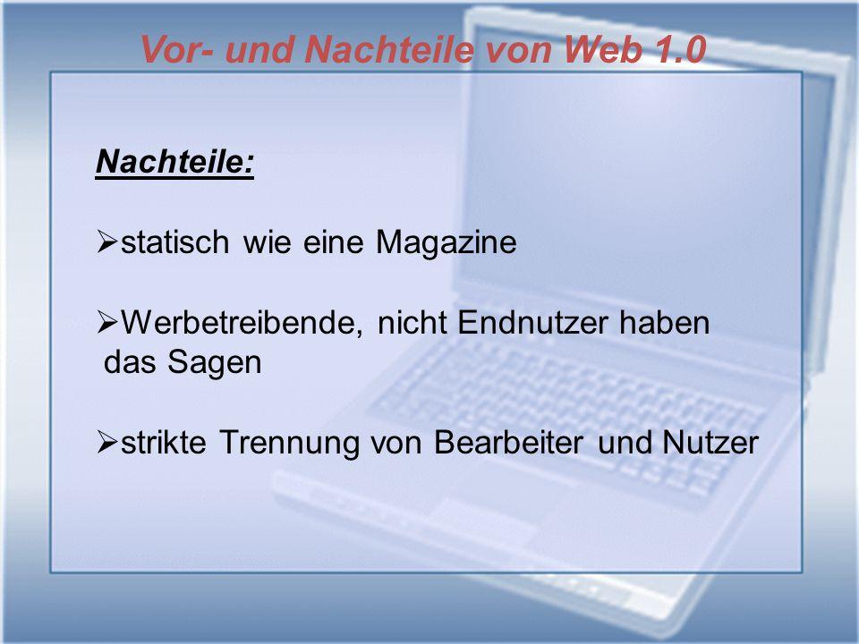 Vor- und Nachteile von Web 1.0