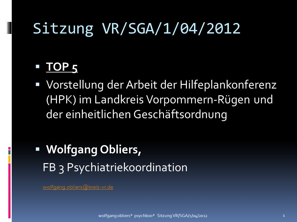 Sitzung VR/SGA/1/04/2012 TOP 5.