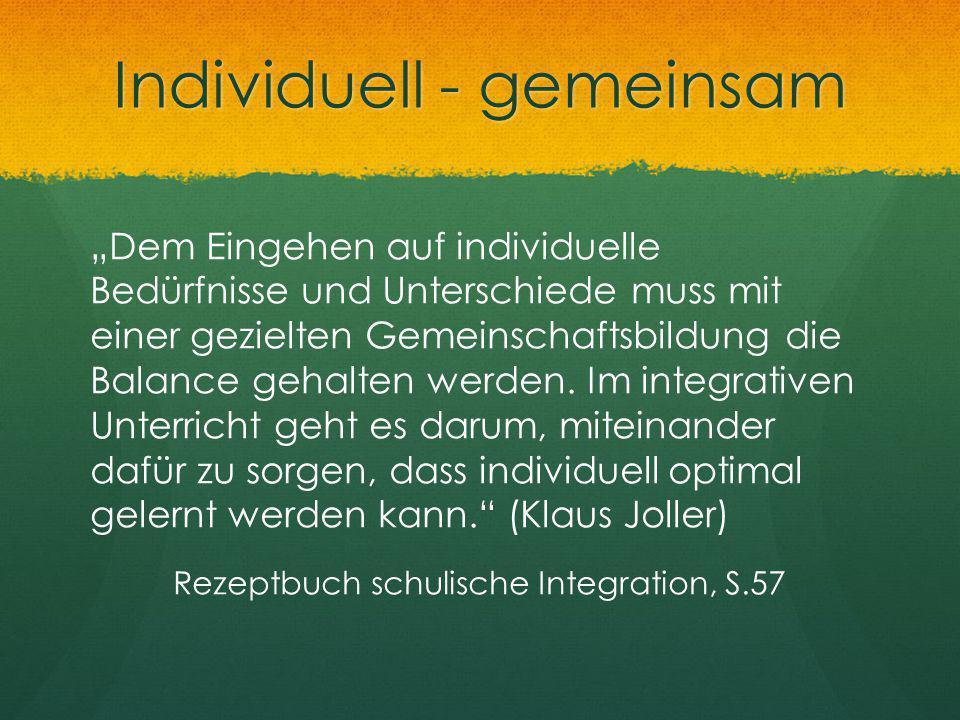 Individuell - gemeinsam