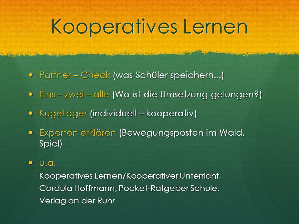 Kooperatives Lernen Partner – Check (was Schüler speichern...)