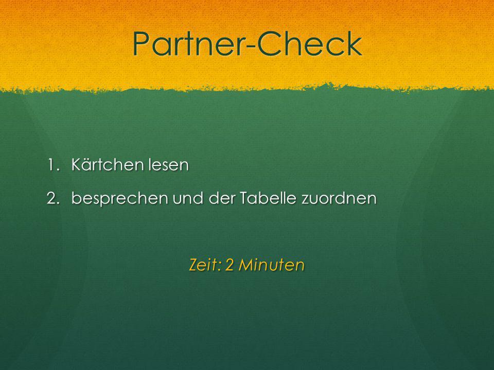 Partner-Check Kärtchen lesen besprechen und der Tabelle zuordnen