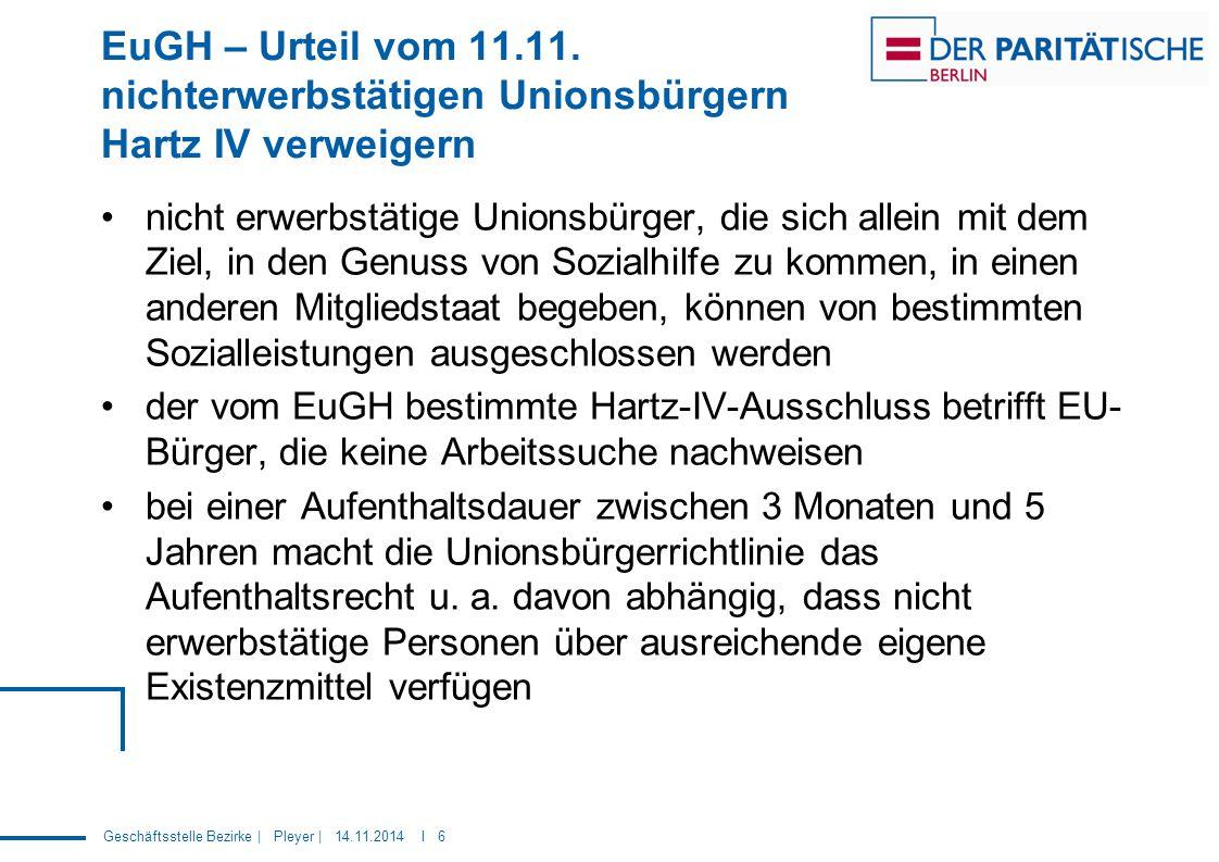 EuGH – Urteil vom 11.11. nichterwerbstätigen Unionsbürgern Hartz IV verweigern