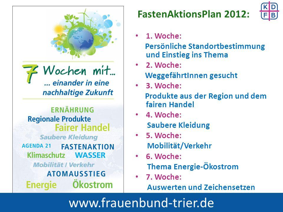 www.frauenbund-trier.de FastenAktionsPlan 2012: 1. Woche: