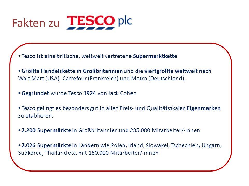Fakten zu Tesco ist eine britische, weltweit vertretene Supermarktkette.