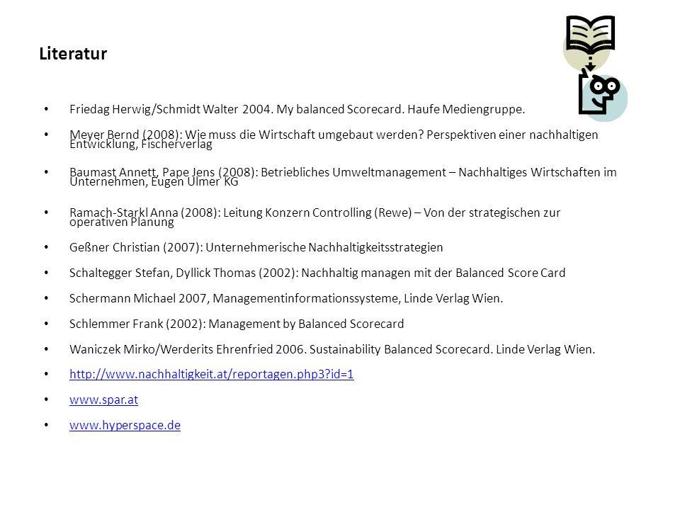 Literatur Friedag Herwig/Schmidt Walter 2004. My balanced Scorecard. Haufe Mediengruppe.