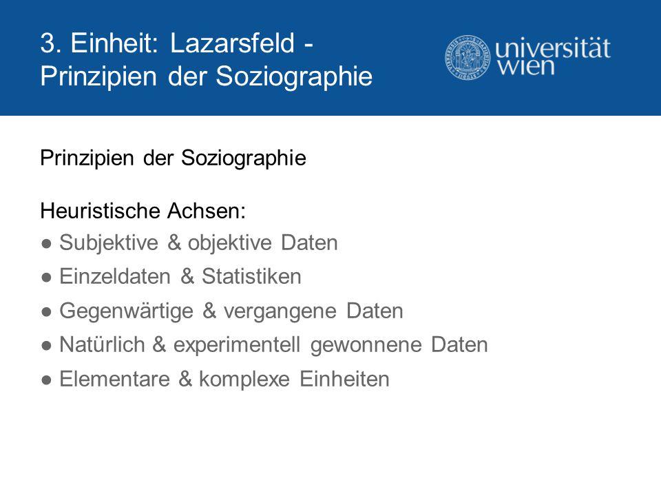3. Einheit: Lazarsfeld - Prinzipien der Soziographie