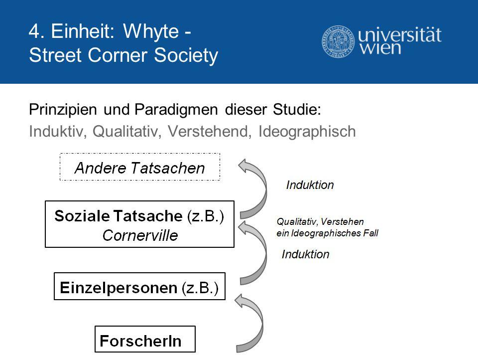 4. Einheit: Whyte - Street Corner Society