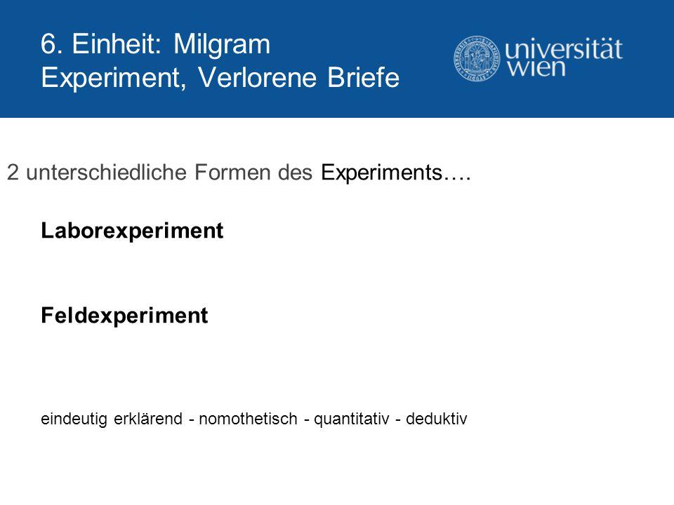 6. Einheit: Milgram Experiment, Verlorene Briefe