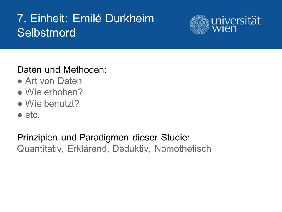 7. Einheit: Emilé Durkheim Selbstmord