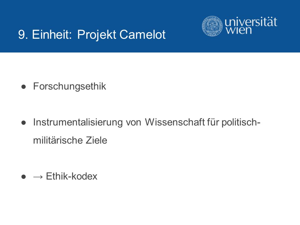 9. Einheit: Projekt Camelot