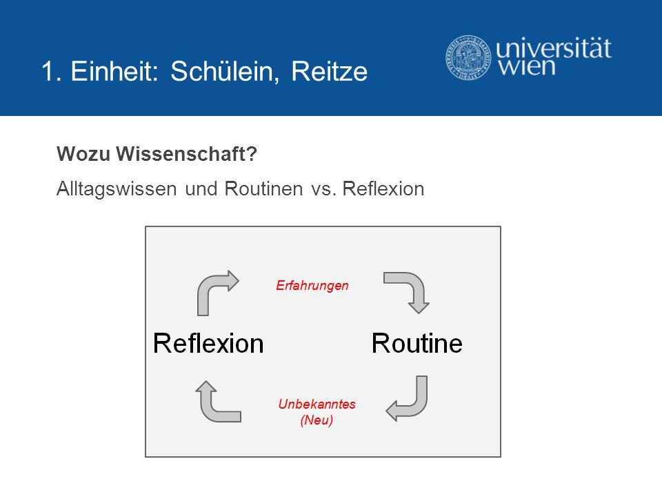Wozu Wissenschaft Alltagswissen und Routinen vs. Reflexion